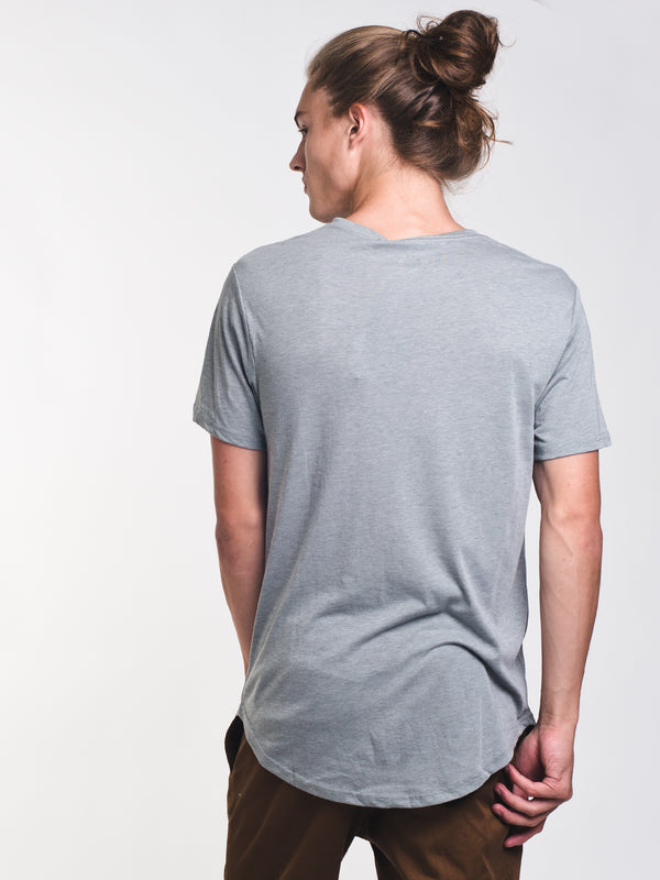 MENS LONG SHORT SLEEVE HENLEY T - GREY