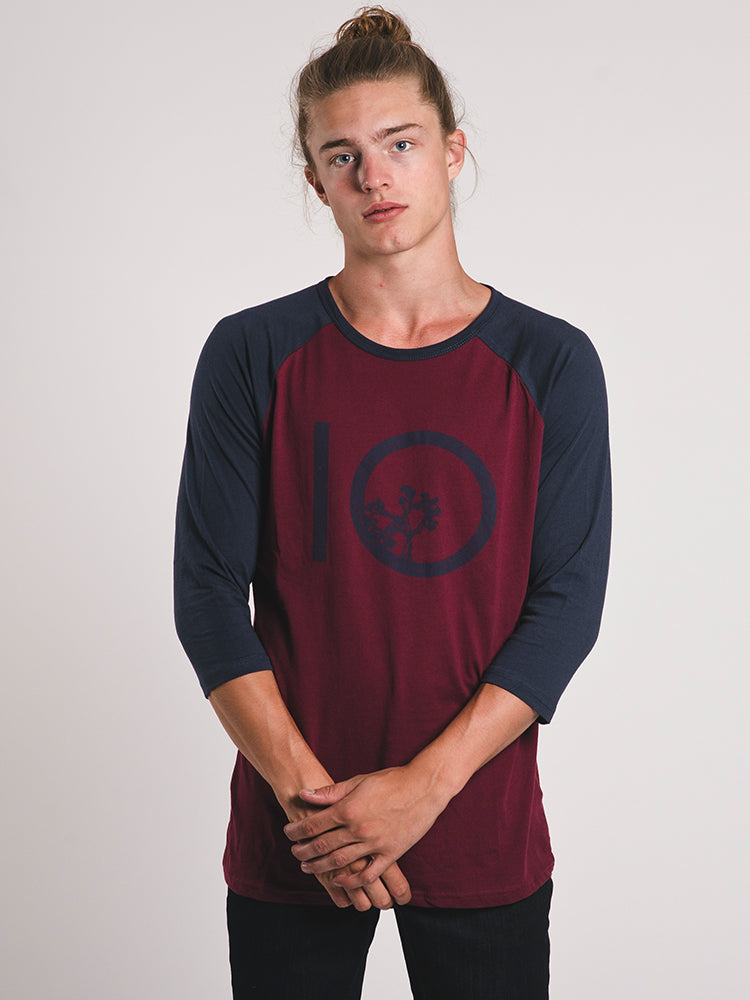 MENS ASTRAL LOGO 3/4 T-SHIRT- BURGUNDY - CLEARANCE