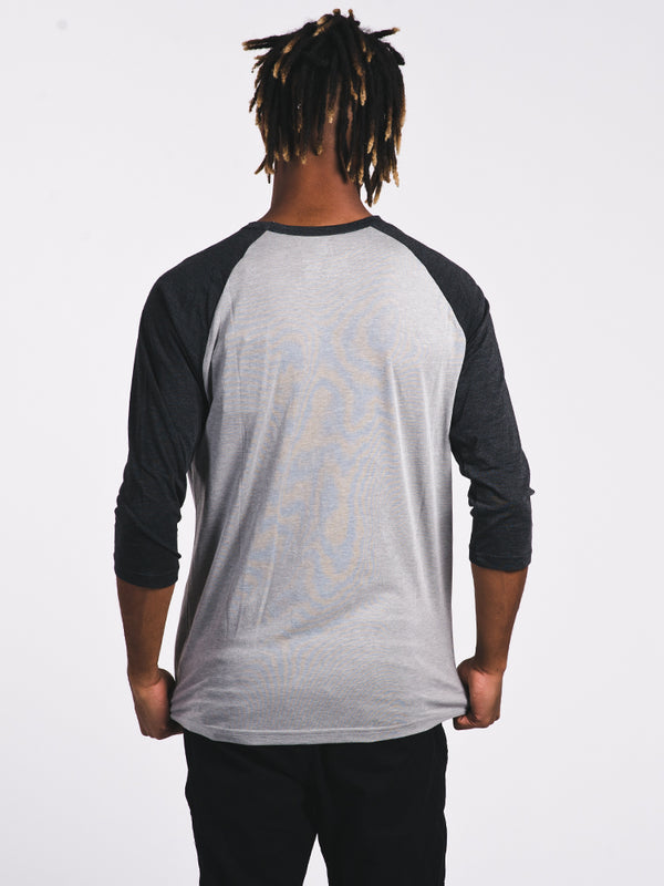 MENS VINTAGE LOGO 3/4 T-SHIRT- BLK/GRY - CLEARANCE