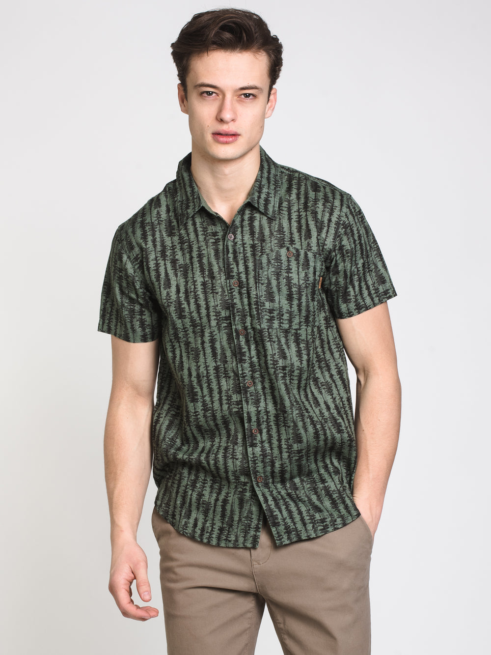 MENS HEMP SHORT SLEEVE WVN - FOREST