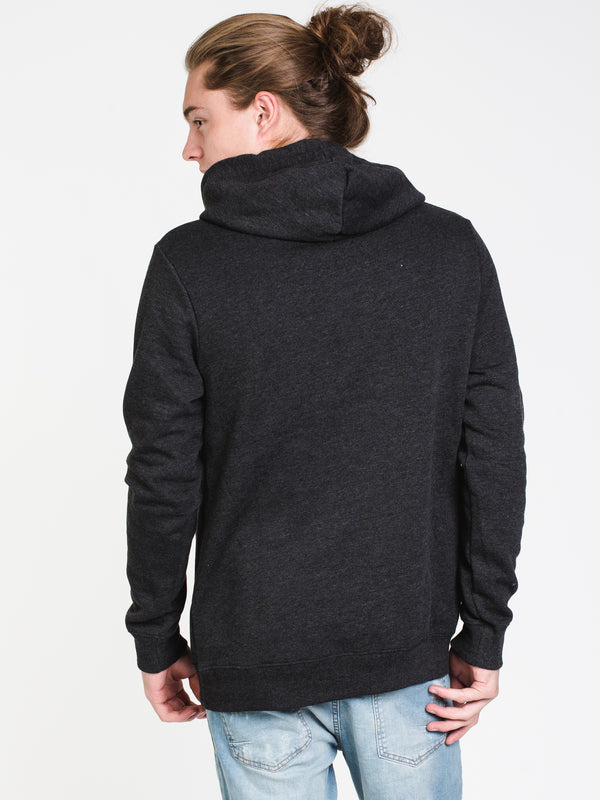 MENS RAISED RUBBER PULLOVER HOODIE - BLACK