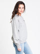 WOMENS EMB LONG SLEEVE CREW - GREY HTHR