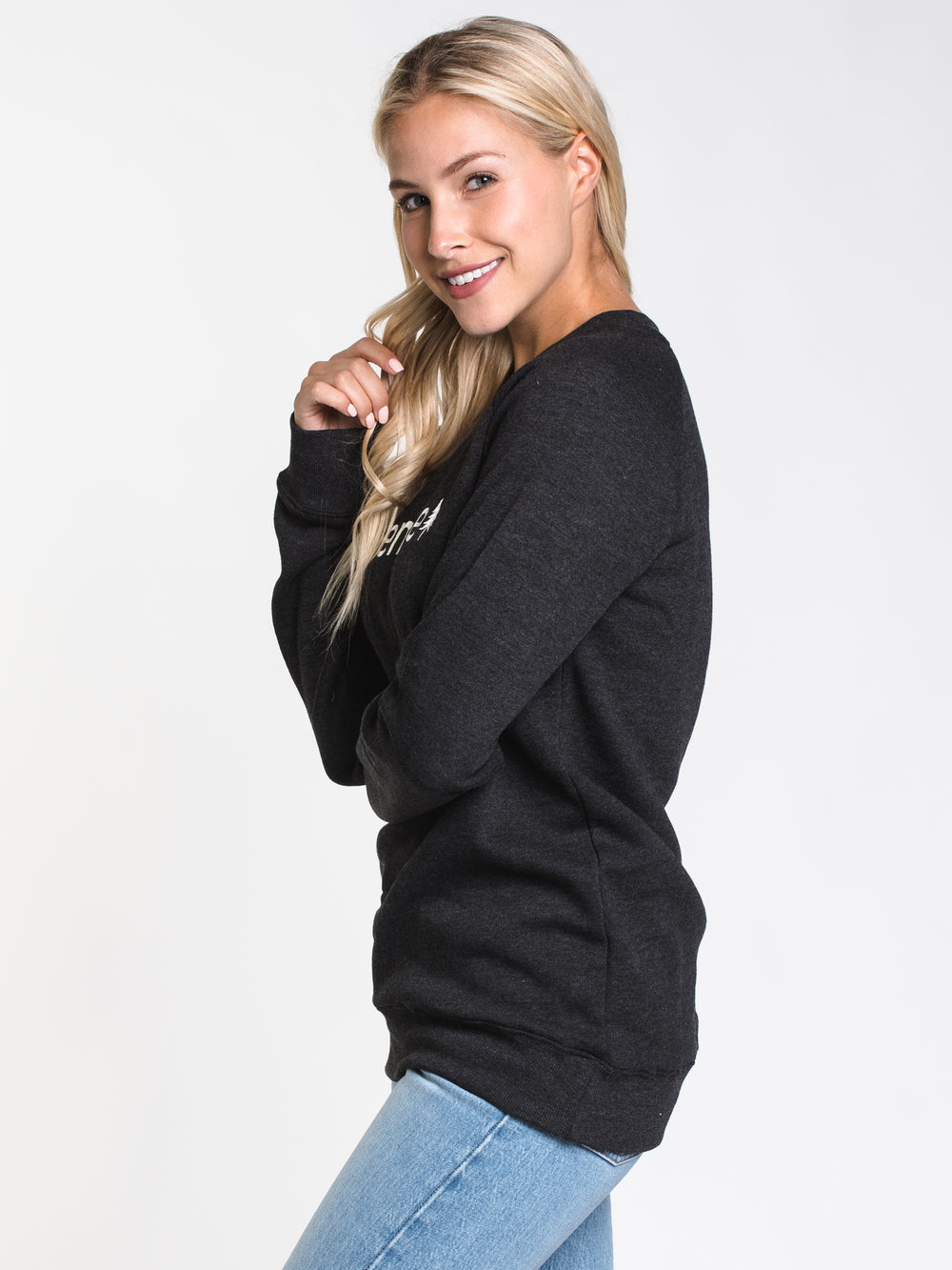 WOMENS PEACE TREE EMB LOGO CREW - BLK
