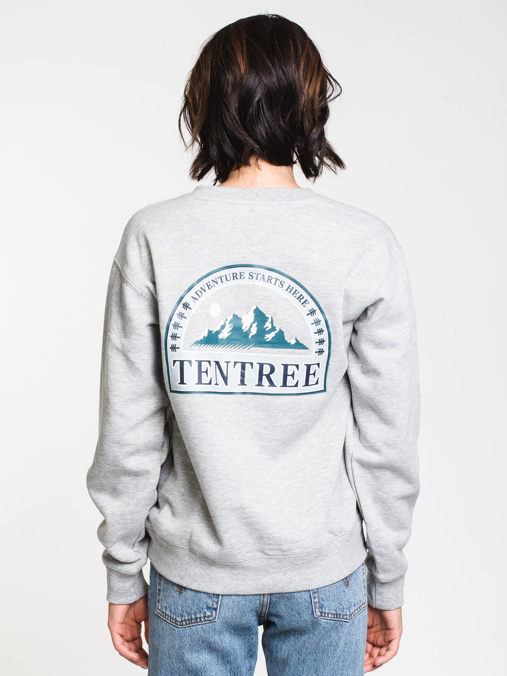 WOMENS ADVENTURE BF CREW - HTHR GREY