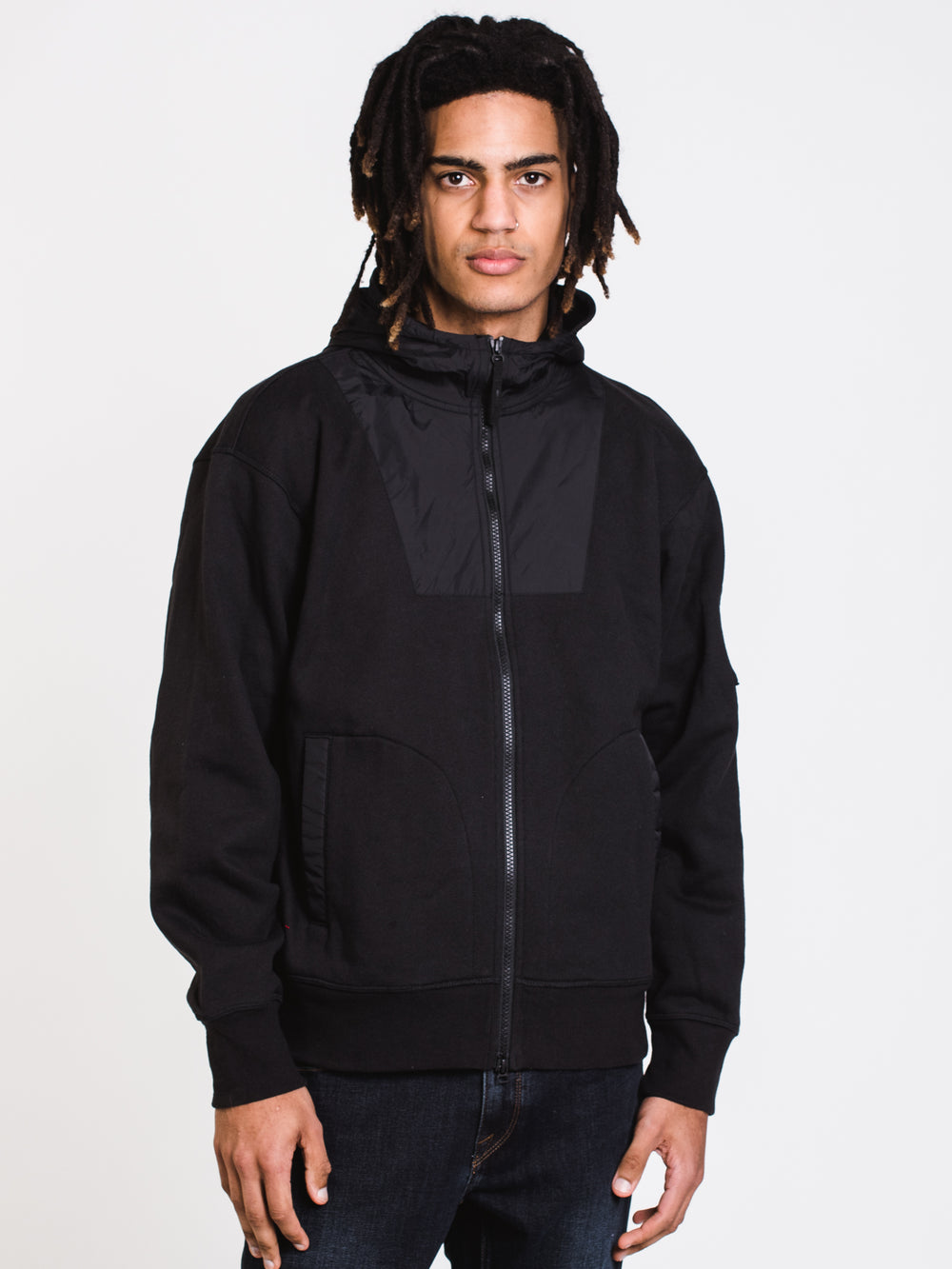 MENS SL FULL ZIP FUNNELNECK JACKET - BLACK