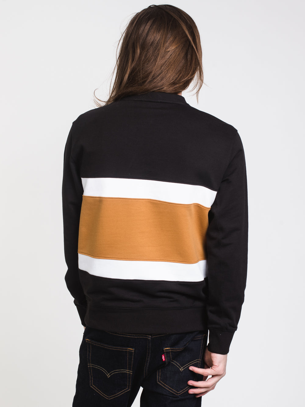 MENS CUT & SEW COLOURBLOCK CREW - BLACK