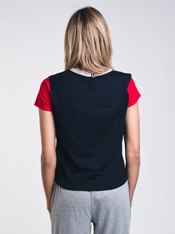 WOMENS TOMMY LOGO TEE - NAVY