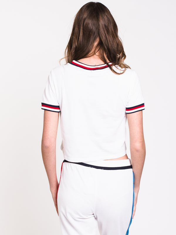 WOMENS TOMMY LOUNGE CROP TEE - WHITE