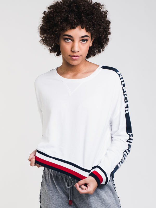 WOMENS CROP LOGO CREWNECK - WHITE