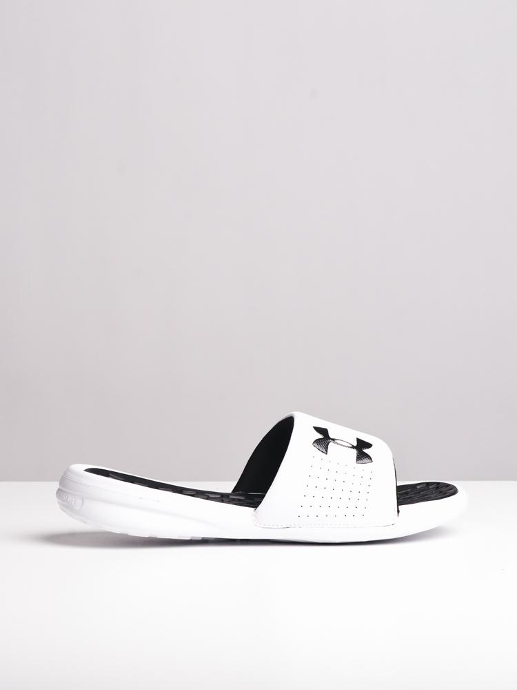 MENS UA PLAYMAKER FIX SL WHT/BLK SANDALS- CLEARANCE