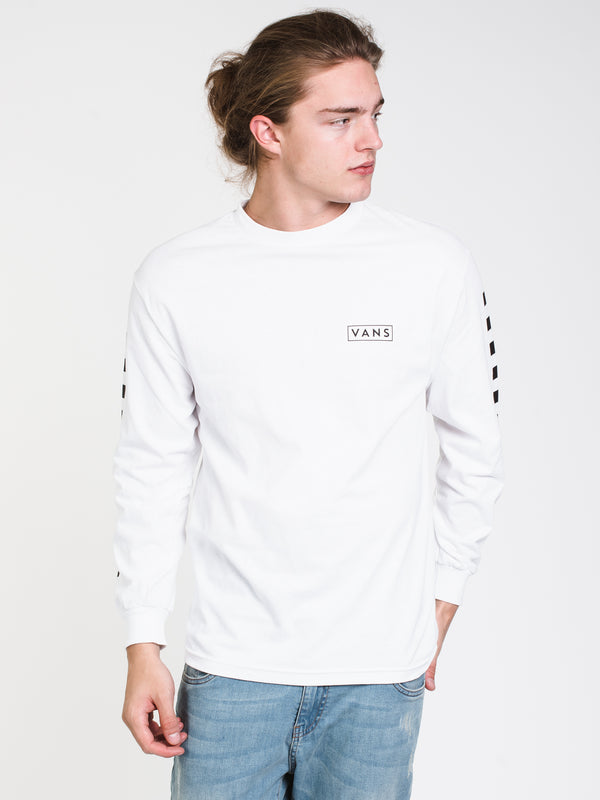 MENS CHECKMATE LONG SLEEVE T-SHIRT - WHITE