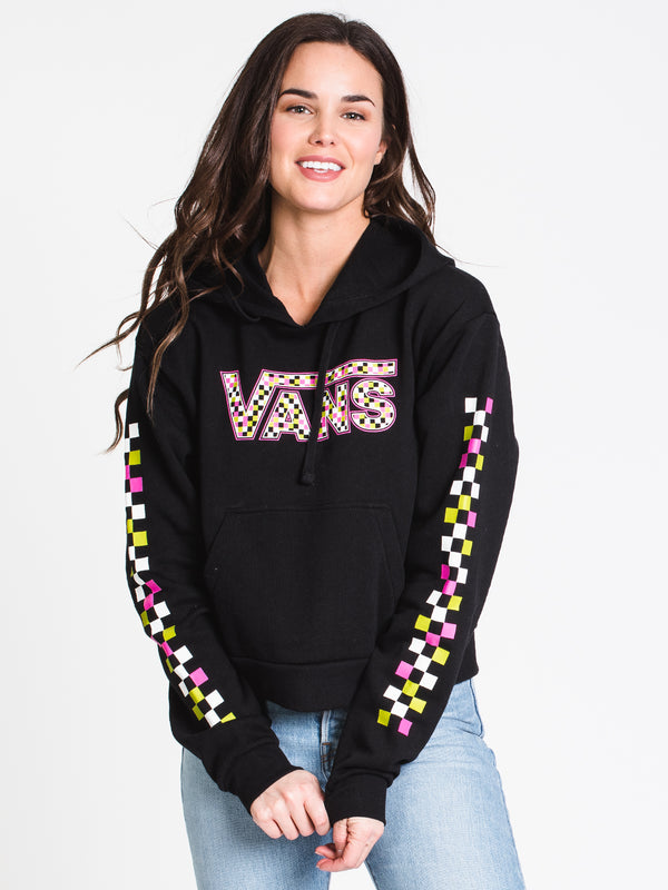 WOMENS FUN CHECK CROP PULLOVER HOODIE - BLK