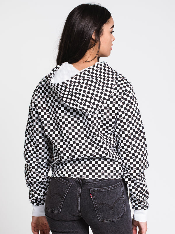WOMENS MINI CHECK VEE PULLOVER HOODIE - B/W