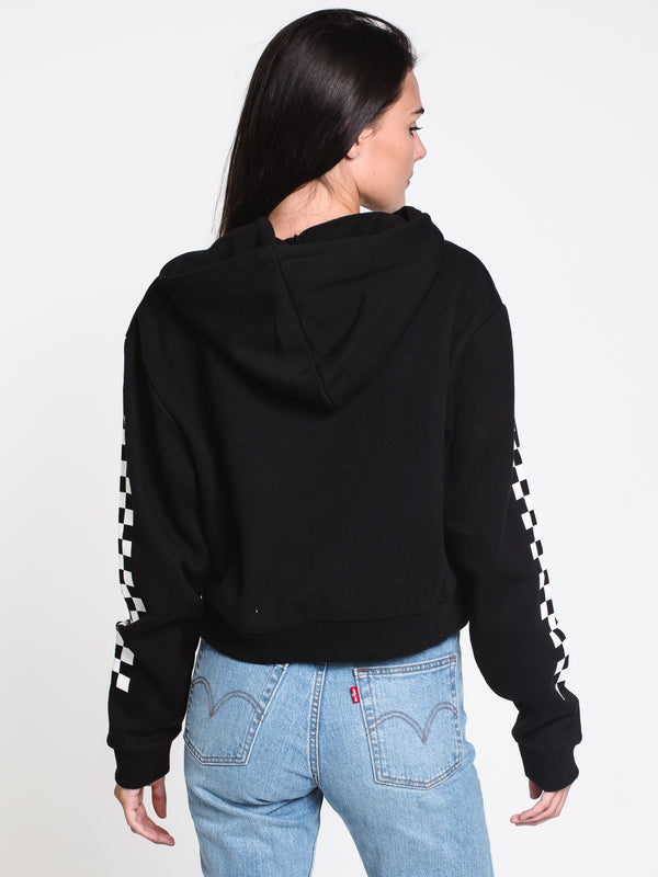 WOMENS FUN BADGE CROP HOODIE - BLACK
