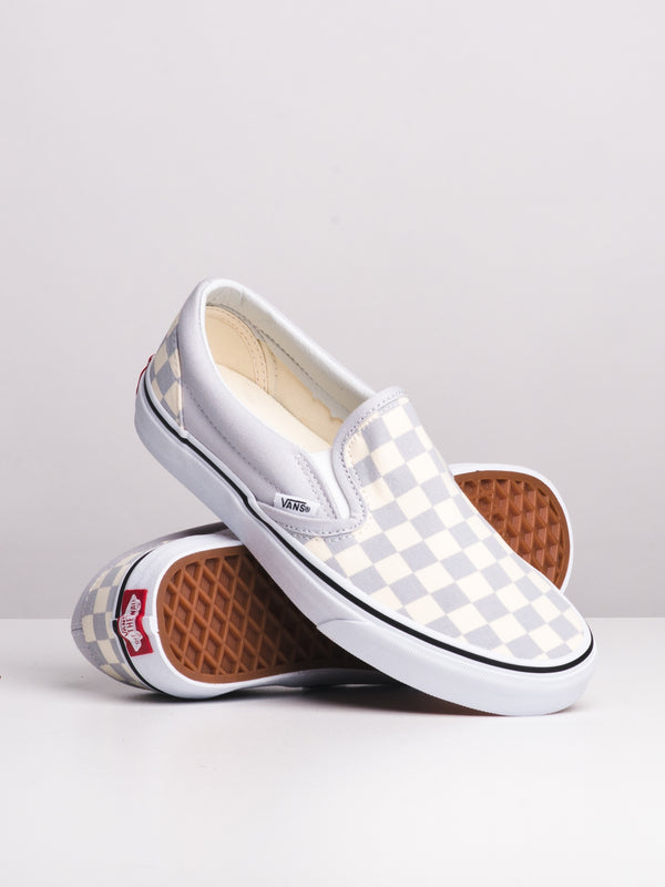 WOMENS CL SLIP ON CHECKER - GRY/WHT