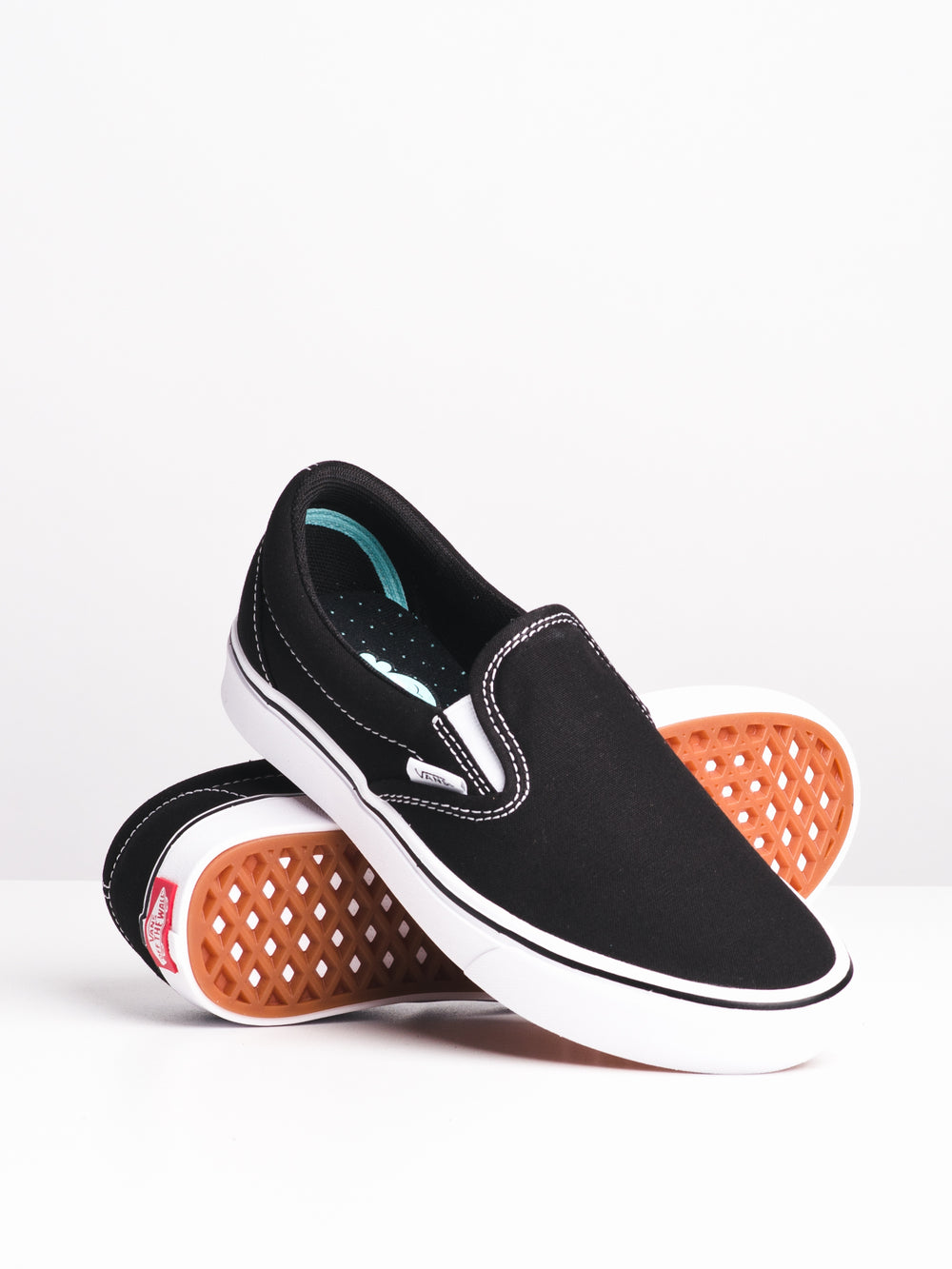 WOMENS COMFYCUSH SLIP ON - BLK/WHT