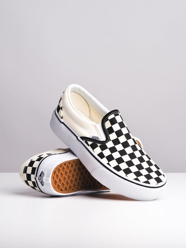 WOMENS CLASSIC SLIP ON PLATFORM CHECKER CANVAS SHOES
