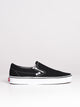 WOMENS CLASSIC SLIP ON BLK/WHT CANVAS SHOES