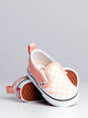 KIDS SLIP ON V - SALMON/WHITE CHK