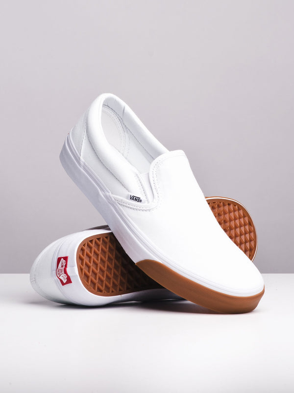 MENS CL SLIP ON BUMPER/WHITE CANVAS SHOES- CLEARANCE