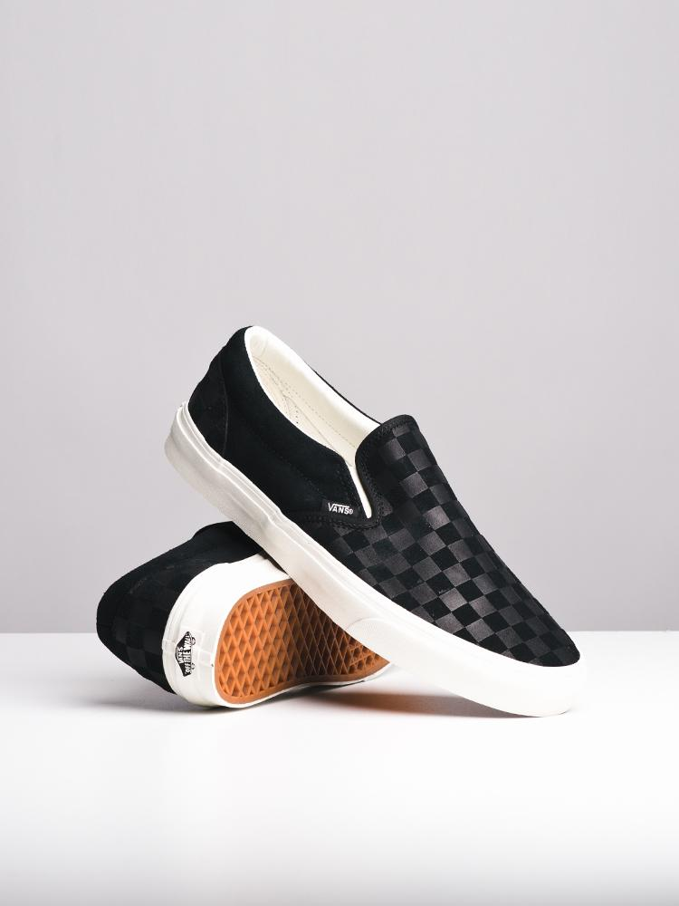 MENS CL SLIP ON CHECKER EMBOSS CANVAS SHOES- CLEARANCE