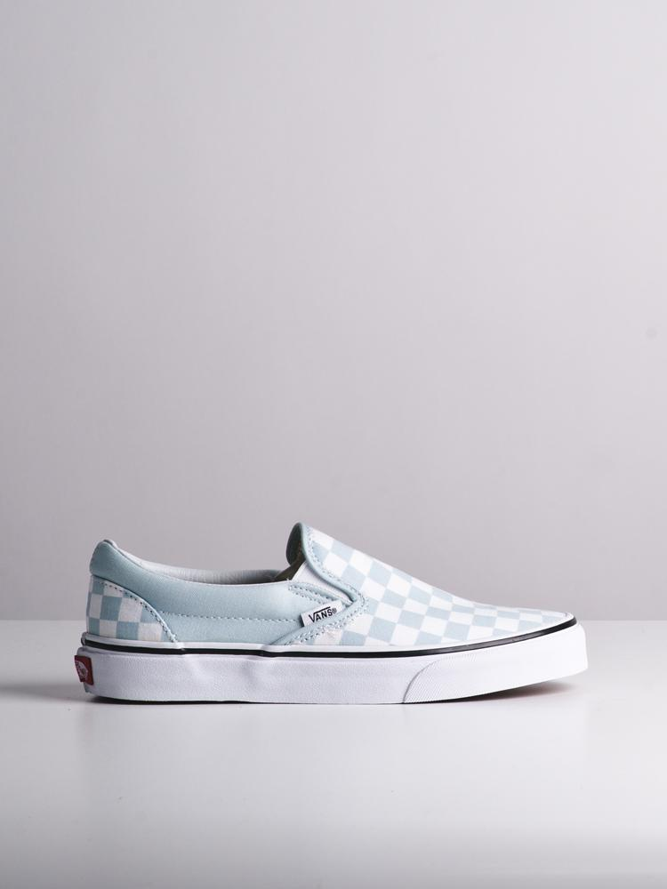 WOMENS CLASSIC SLIP ON CHECK BLUE CANVAS SHOES
