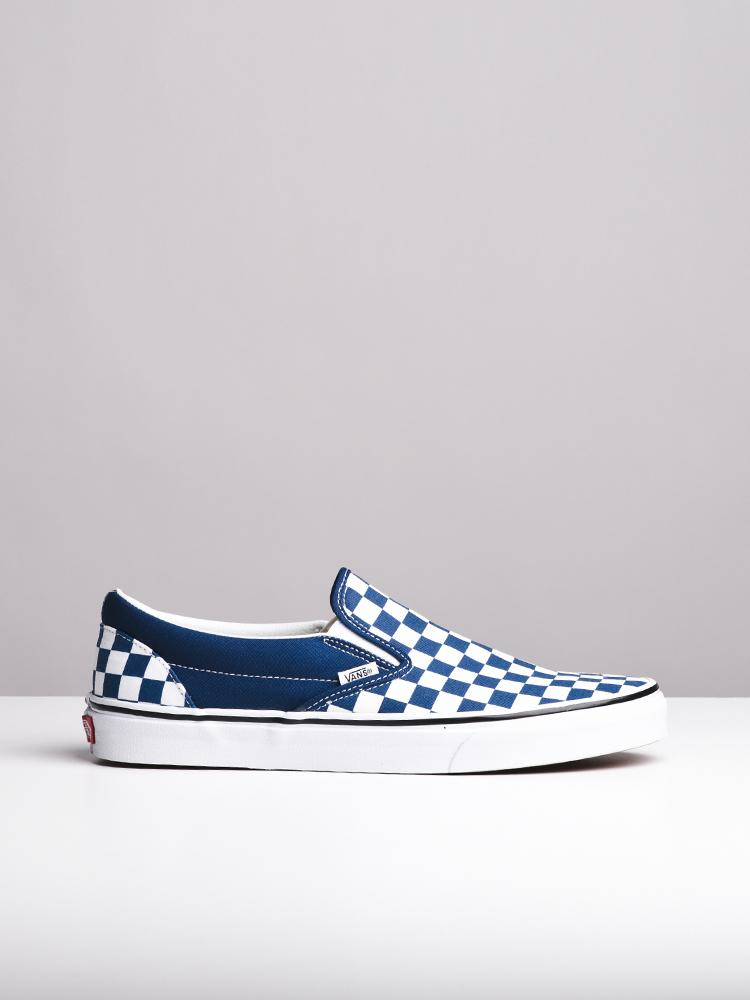 MENS CL SLIP ON CHECKER BLUE CANVAS SHOES- CLEARANCE