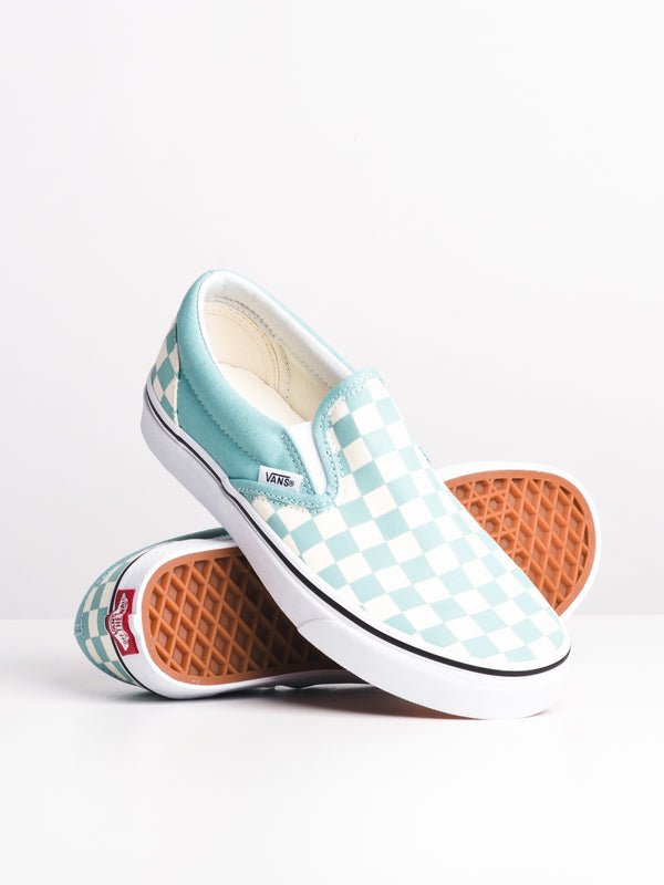 WOMENS CLASSIC SLIP ON - AQUA CHECK
