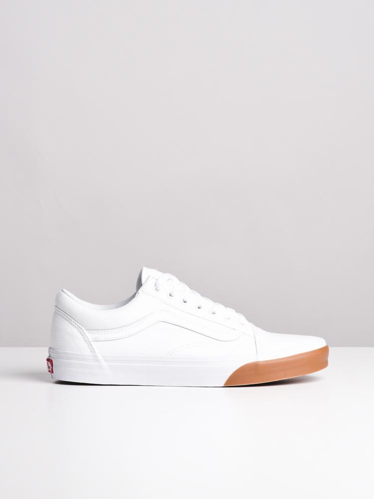 cf463f372cb35d MENS OLD SKOOL GUM BUMPER WHITE CANVAS SHOES- CLEARANCE