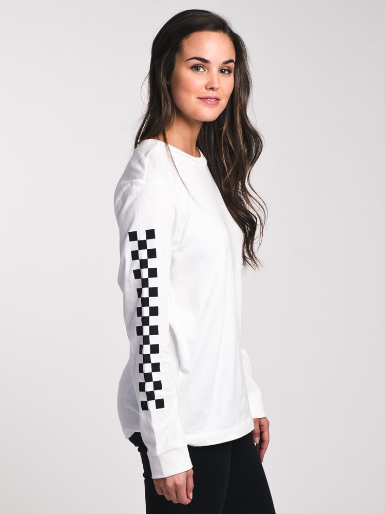 WOMENS HALF CHECKED LONG SLEEVE T SHIRT