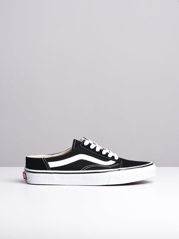 WOMENS OLD SKOOL MULE BLACK/WHITE CANVAS SHOES- CLEARANCE