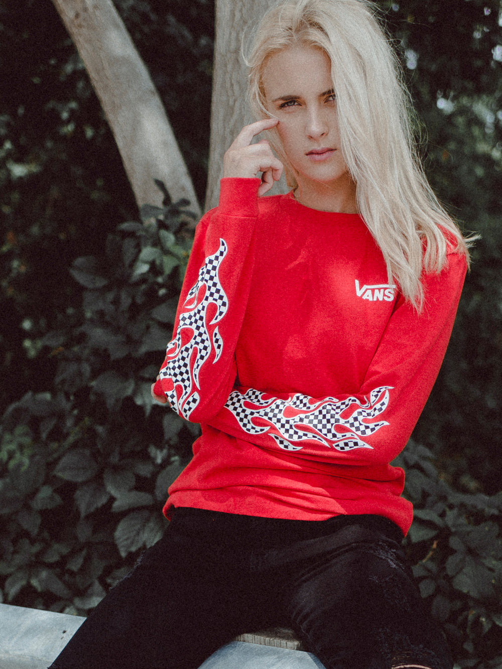 WOMENS FLAME CHECK L/S BF TEE - RED