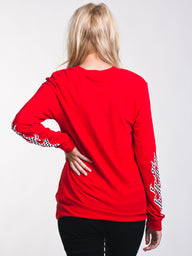 WOMENS FLAME CHECK LONG SLEEVE BF TEE - RED