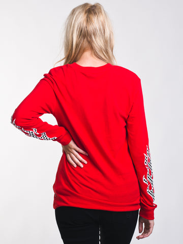 VANS. WOMENS FLAME CHECK LONG SLEEVE BF TEE - RED 95c1fe17e
