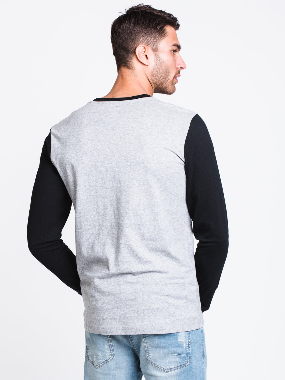 MENS HENSLEY LONG SLEEVET-SHIRT- CEMENT HTHR