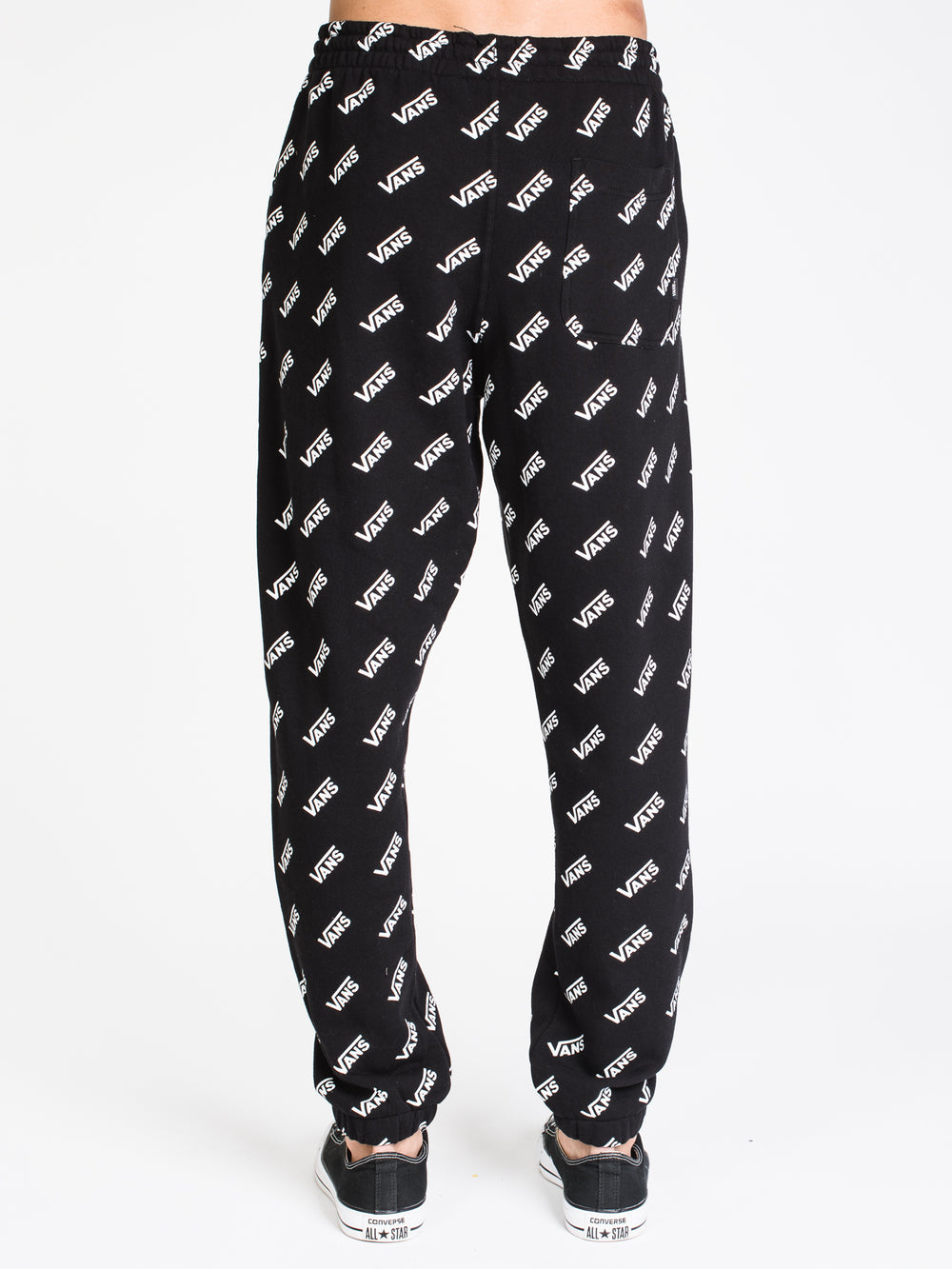 MENS DISTORTED ALL OVER PRINT FLEECE PANT - BLACK
