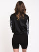 WOMENS CHECKER TRACK JACKET - BLACK - CLEARANCE