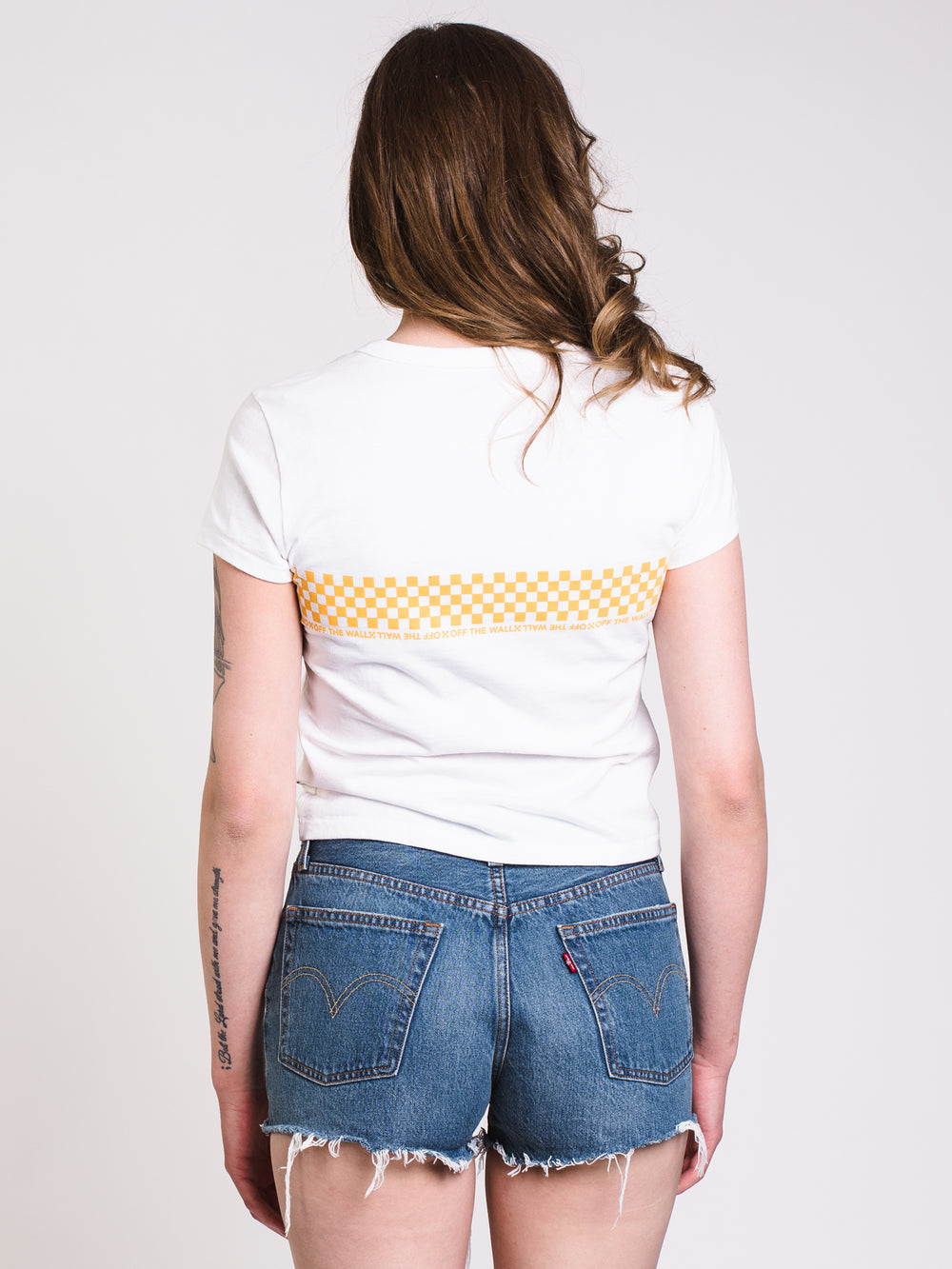 WOMENS CHECKERED BABY TEE - WHITE - CLEARANCE