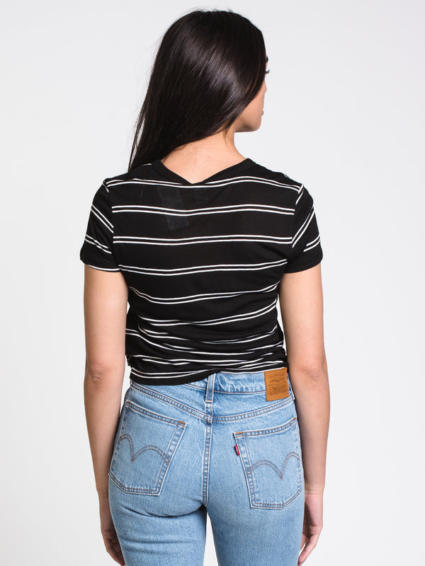WOMENS SPACEY STRIPE SHORT SLEEVE TEE - B/W
