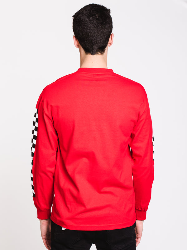 MENS CHECK VEE LONG SLEEVE T - RACING RED