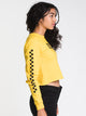 WOMENS CHECKED CROP LONG SLEEVE TEE - GOLD