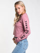 WOMENS CHECKED CROP LONG SLEEVE TEE - ROSE
