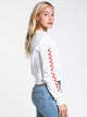 WOMENS CHECKED CROP LONG SLEEVE TEE - WHITE
