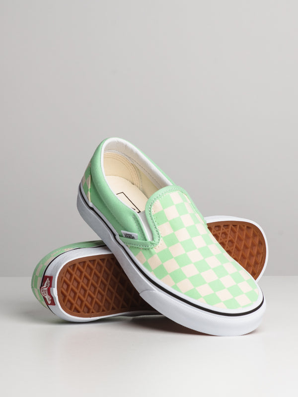 WOMENS CLASSIC SLIP ON - CHECKER GRN
