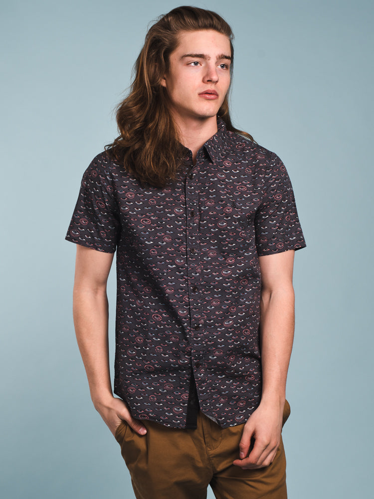 MENS BURCH SHORT SLEEVE WOVEN - BLACK- CLEARANCE