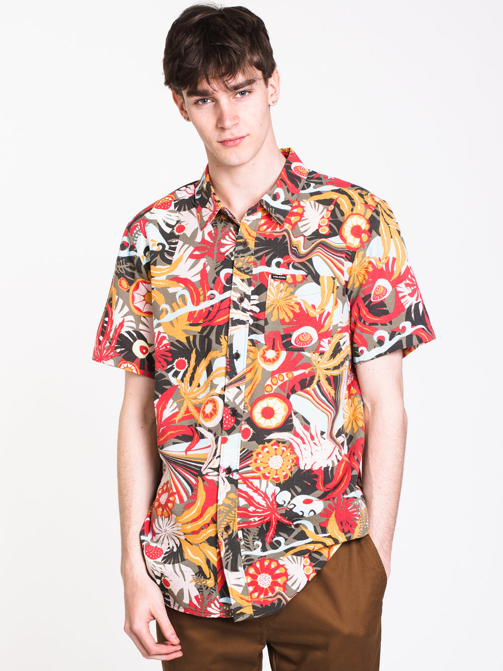 MENS PSYCH FLORAL SHORT SLEEVE Woven - MLT - CLEARANCE