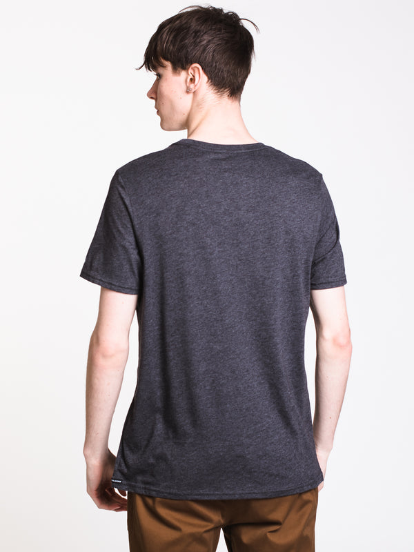 MENS HEATHER SHORT SLEEVE POCKET T - CHARCOAL