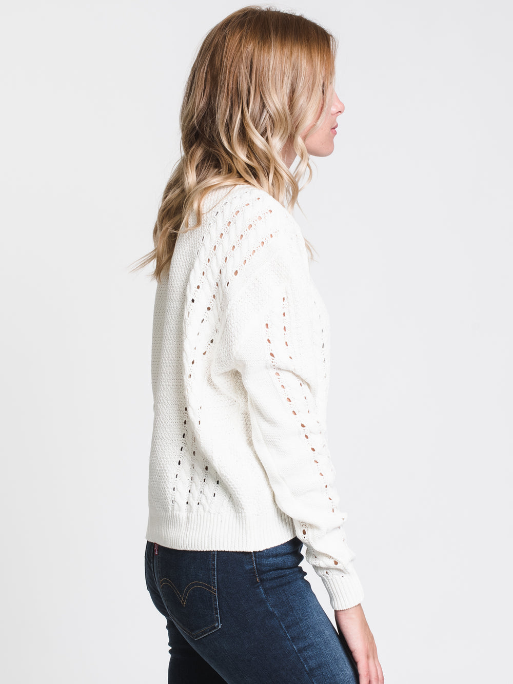WOMENS CABLE BODIED SWEATER - CREAM