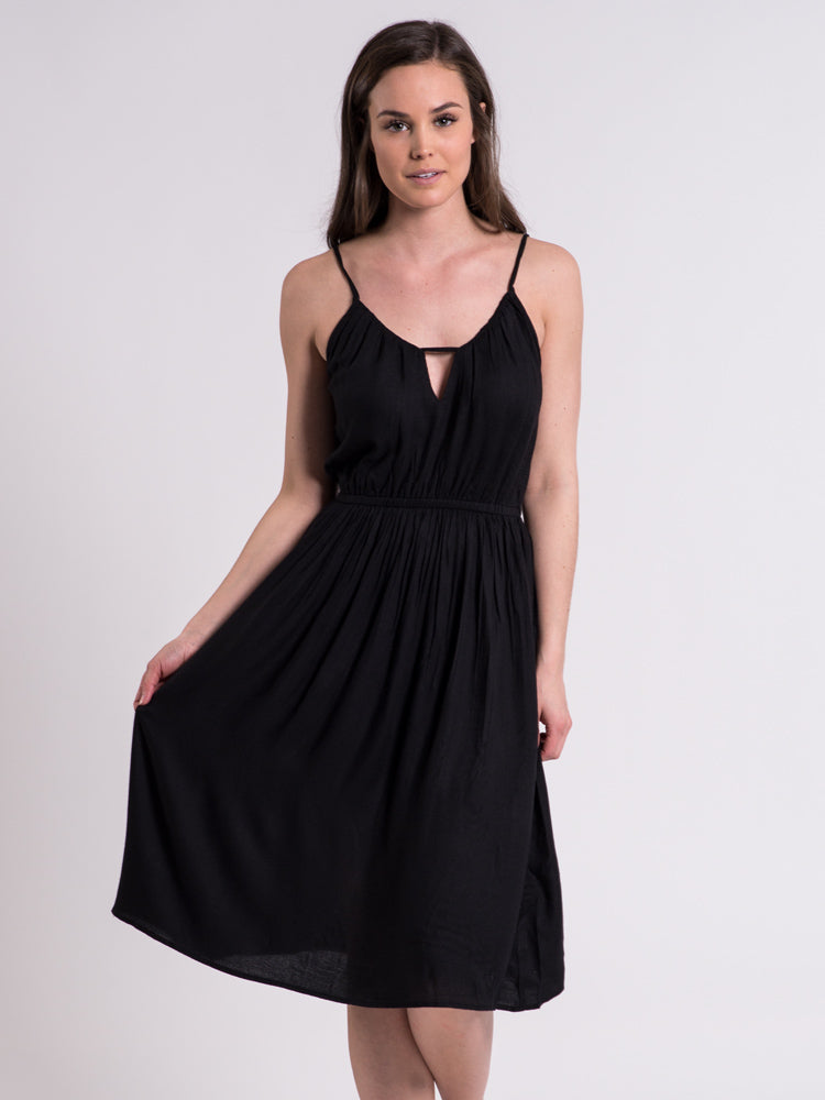 WOMENS ROUGH EDGES 2 DRESS - BLACK- CLEARANCE