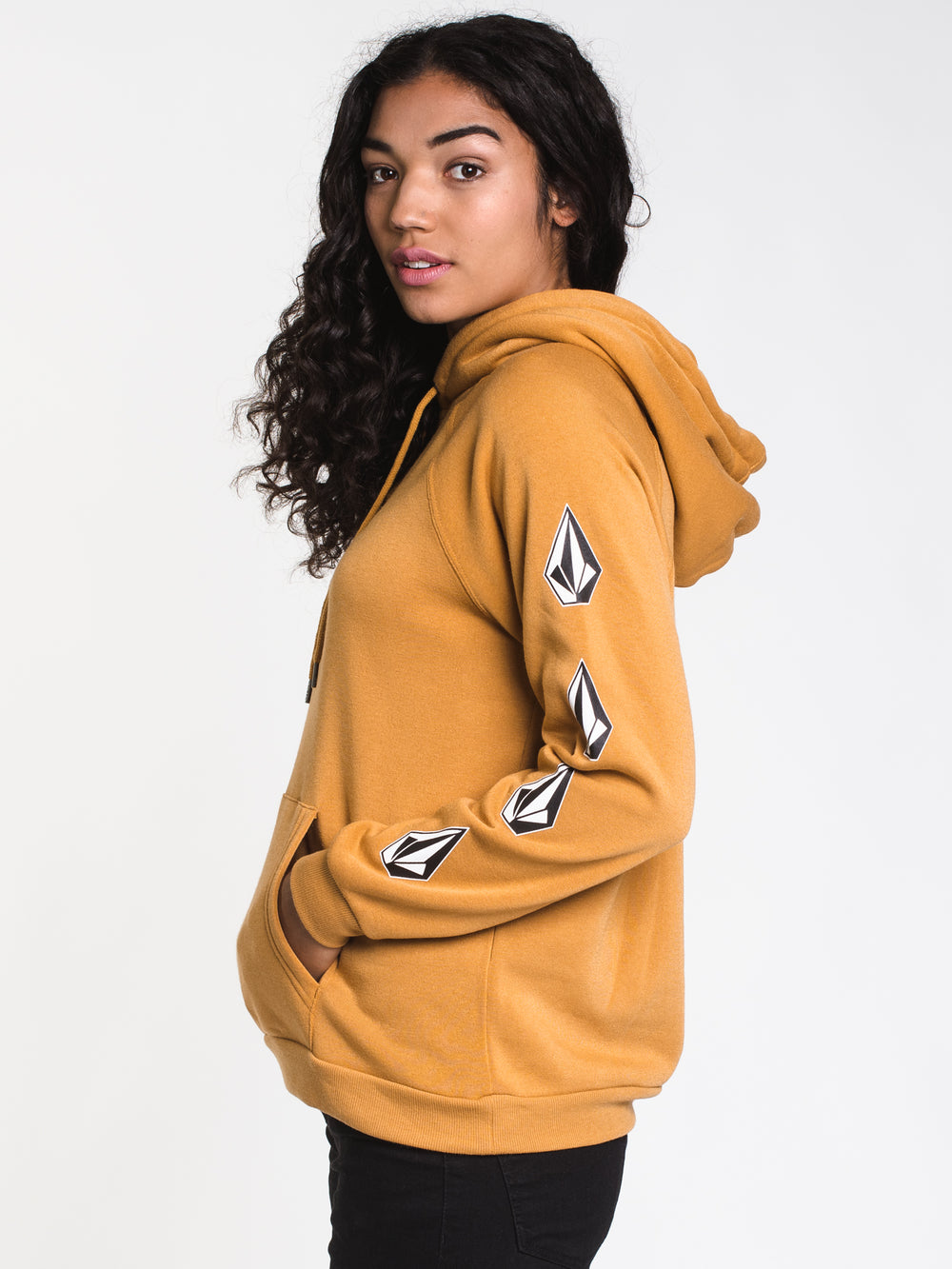 WOMENS DEADLY STONES PULLOVER HOODIE- GOLD